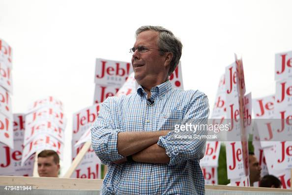 Republican Presidential candidate Jeb Bush participated in 4th of July Parade on July 4 2015 in Amherst New Hampshire Bush is a frontrunner in the...