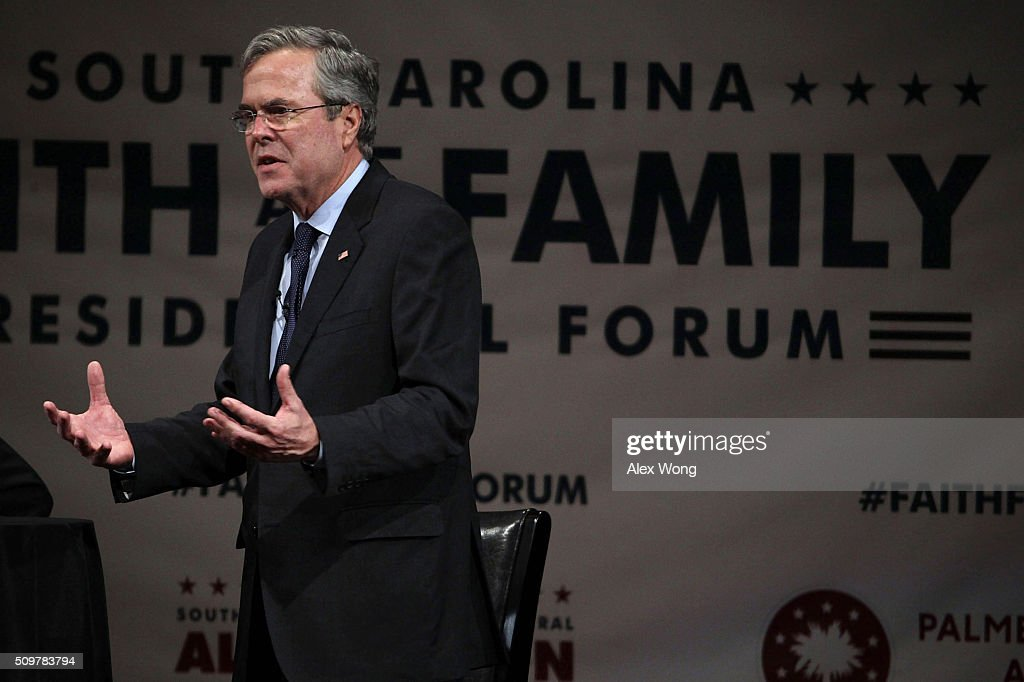 Republican presidential candidate <a gi-track='captionPersonalityLinkClicked' href=/galleries/search?phrase=Jeb+Bush&family=editorial&specificpeople=171487 ng-click='$event.stopPropagation()'>Jeb Bush</a> participates in the South Carolina Faith and Family Presidential Forum February 12, 2016 in Greenville, South Carolina. Four Republican candidates joined the forum as they continued to campaign in the Palmetto State.