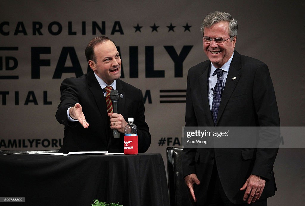 Republican presidential candidate <a gi-track='captionPersonalityLinkClicked' href=/galleries/search?phrase=Jeb+Bush&family=editorial&specificpeople=171487 ng-click='$event.stopPropagation()'>Jeb Bush</a> (R) participates in the South Carolina Faith and Family Presidential Forum as moderator, South Carolina Attorney General Alan Wilson (L), looks on February 12, 2016 in Greenville, South Carolina. Four Republican candidates joined the forum as they continued to campaign in the Palmetto State.