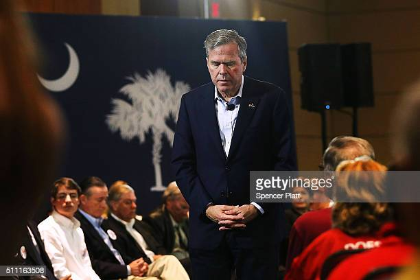 Republican presidential candidate Jeb Bush pauses while speaking to an audience of voters on February 18 2016 in Columbia South Carolina Bush who is...
