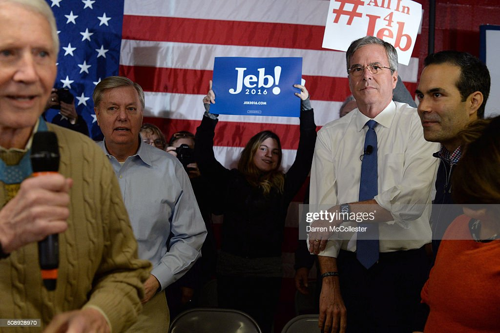 Republican Presidential candidate <a gi-track='captionPersonalityLinkClicked' href=/galleries/search?phrase=Jeb+Bush&family=editorial&specificpeople=171487 ng-click='$event.stopPropagation()'>Jeb Bush</a> prepares to speak at a town hall at Woodbury School with son George February 7, 2016 in Salem, New Hampshire. Candidates are in a last push for votes ahead of the first in the nation primary on February 9.