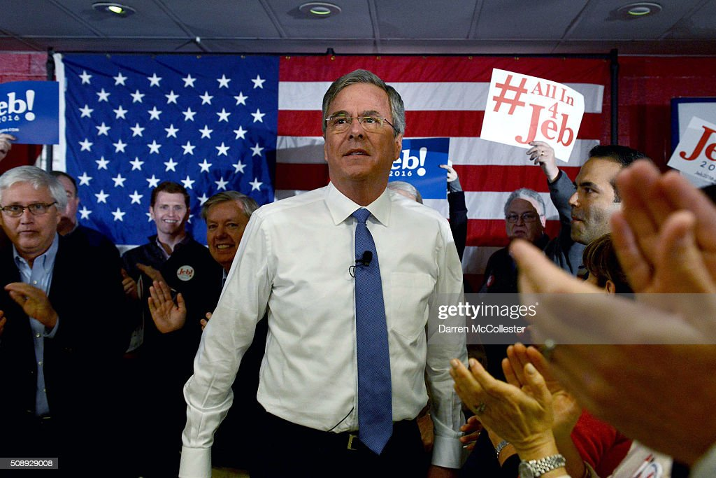 Republican Presidential candidate <a gi-track='captionPersonalityLinkClicked' href=/galleries/search?phrase=Jeb+Bush&family=editorial&specificpeople=171487 ng-click='$event.stopPropagation()'>Jeb Bush</a> prepares to speak at a town hall at Woodbury School February 7, 2016 in Salem, New Hampshire. Candidates are in a last push for votes ahead of the first in the nation primary on February 9.