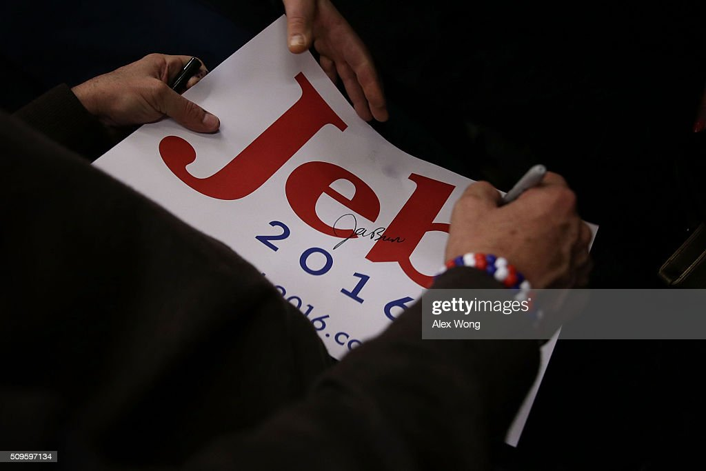 Republican presidential candidate <a gi-track='captionPersonalityLinkClicked' href=/galleries/search?phrase=Jeb+Bush&family=editorial&specificpeople=171487 ng-click='$event.stopPropagation()'>Jeb Bush</a> signs autographs for voters during a campaign event February 11, 2016 in Sumter, South Carolina. After finishing 4th in New Hampshire, Bush continued to seek for the Republican nomination in the Palmetto State.