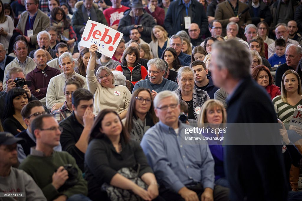Republican presidential candidate <a gi-track='captionPersonalityLinkClicked' href=/galleries/search?phrase=Jeb+Bush&family=editorial&specificpeople=171487 ng-click='$event.stopPropagation()'>Jeb Bush</a> speaks at a town hall style meeting on February 6, 2016 at the McKelvie Intermediate School in Bedford, New Hampshire. Bush is campaigning in the lead up to the The New Hampshire primary, February 9.