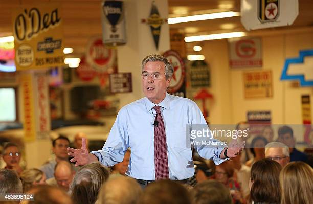 Republican presidential candidate Jeb Bush speaks at Dennis Albaugh's Classic Car Barn during the Polk County GOP Annual Summer Sizzle event August...