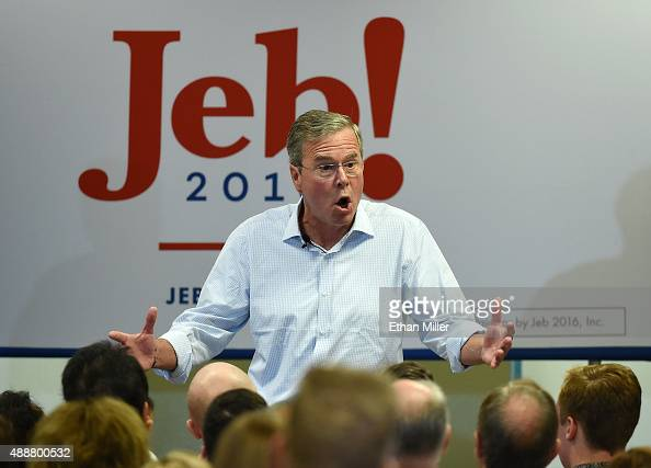 Republican presidential candidate Jeb Bush speaks during a campaign rally at the Veterans Memorial Leisure Services Center on September 17 2015 in...