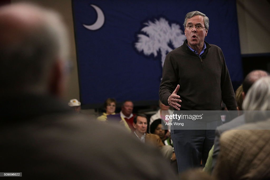 Republican presidential candidate <a gi-track='captionPersonalityLinkClicked' href=/galleries/search?phrase=Jeb+Bush&family=editorial&specificpeople=171487 ng-click='$event.stopPropagation()'>Jeb Bush</a> speaks during a campaign event February 11, 2016 in Sumter, South Carolina. After finishing 4th in New Hampshire, Bush continued to seek for the Republican nomination in the Palmetto State.