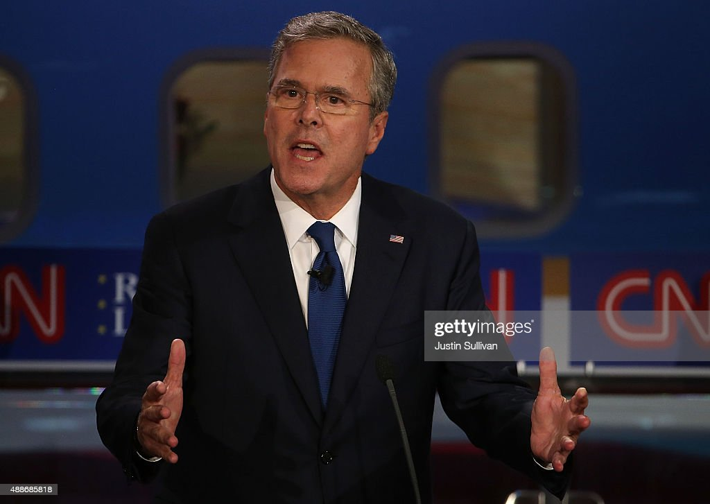 Republican presidential candidate Jeb Bush takes part in the presidential debates at the Reagan Library on September 16 2015 in Simi Valley...