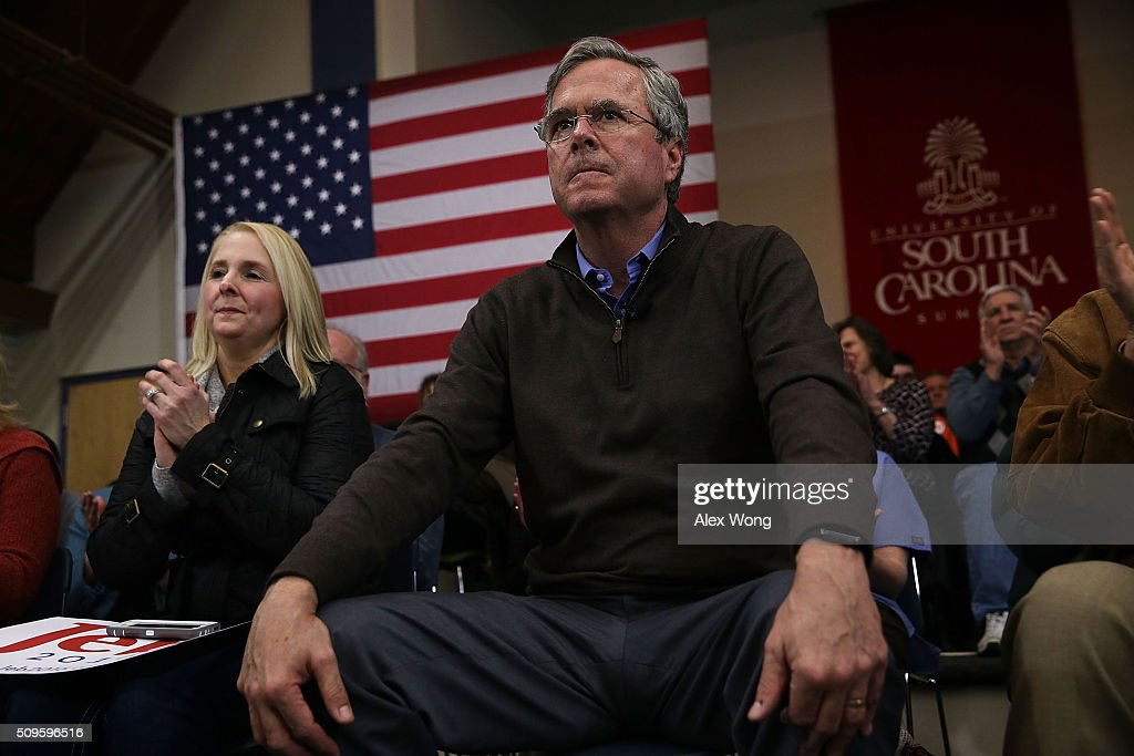 Republican presidential candidate <a gi-track='captionPersonalityLinkClicked' href=/galleries/search?phrase=Jeb+Bush&family=editorial&specificpeople=171487 ng-click='$event.stopPropagation()'>Jeb Bush</a> waits to be introduced during a campaign event February 11, 2016 in Sumter, South Carolina. After finishing 4th in New Hampshire, Bush continued to seek for the Republican nomination in the Palmetto State.