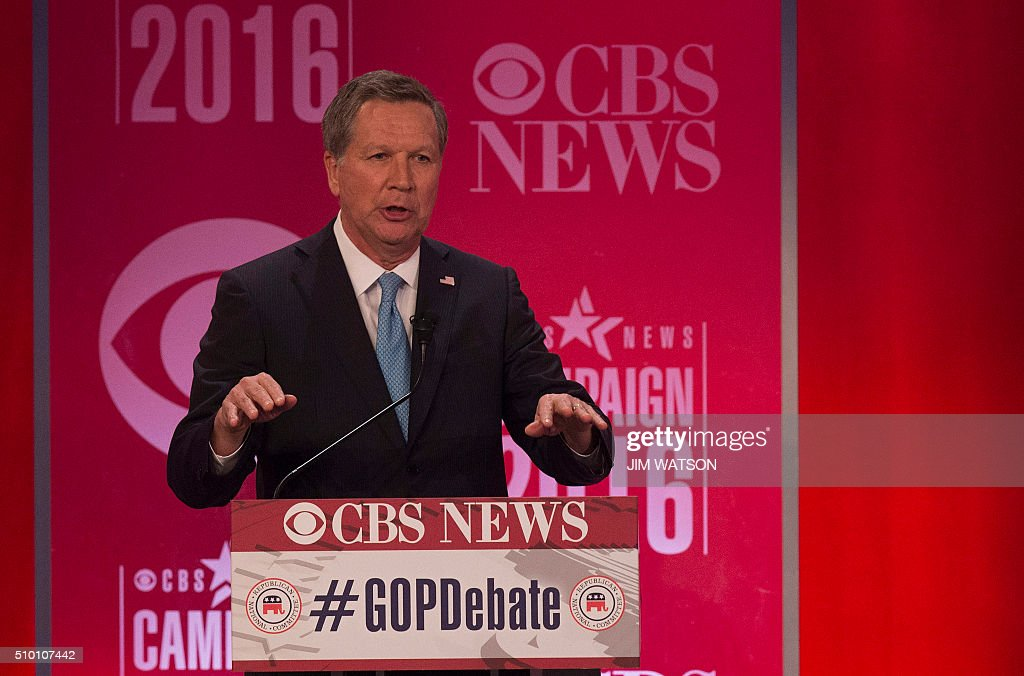 Republican presidential candidate John Kasich speaks during the CBS News Republican Presidential Debate in Greenville, South Carolina, February 13, 2016. / AFP / JIM WATSON