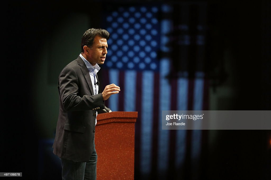 Republican presidential candidate Louisiana Governor <a gi-track='captionPersonalityLinkClicked' href=/galleries/search?phrase=Bobby+Jindal&family=editorial&specificpeople=2249969 ng-click='$event.stopPropagation()'>Bobby Jindal</a> speaks during the Sunshine Summit conference being held at the Rosen Shingle Creek on November 14, 2015 in Orlando, Florida. The summit brought Republican presidential candidates in front of the Republican voters.