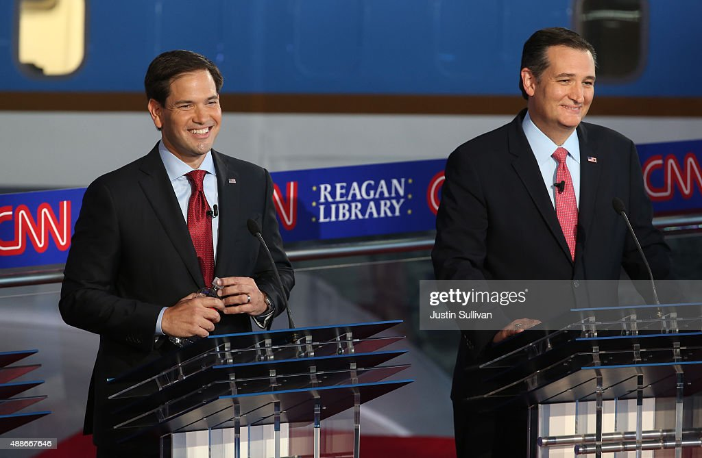 Republican presidential candidate Marco Rubio and Ted Cruz take part in the presidential debates at the Reagan Library on September 16 2015 in Simi...