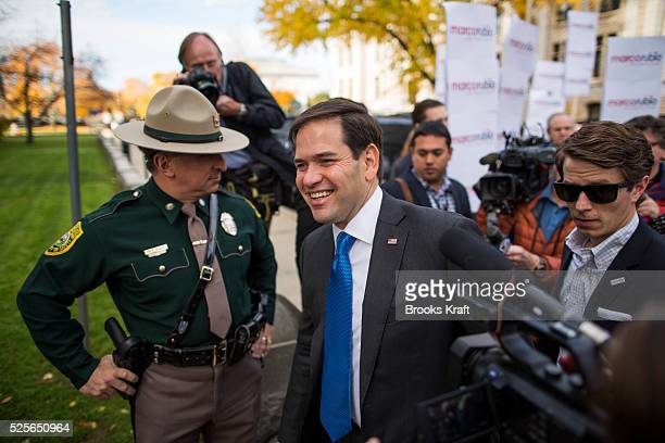Republican presidential candidate Marco Rubio arrives at the New Hampshire State House in Concord to file his papers for the New Hampshire primary...
