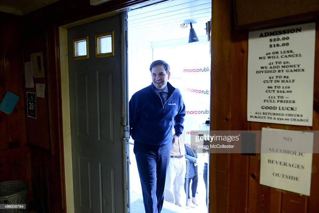 Republican Presidential candidate <a gi-track='captionPersonalityLinkClicked' href=/galleries/search?phrase=Marco+Rubio+-+Politico&family=editorial&specificpeople=11395287 ng-click='$event.stopPropagation()'>Marco Rubio</a> enters a town hall at the VFW November 30, 2015 in Laconia, New Hampshire. Rubio has slowly been rising in the polls since a strong performance at the last debate.