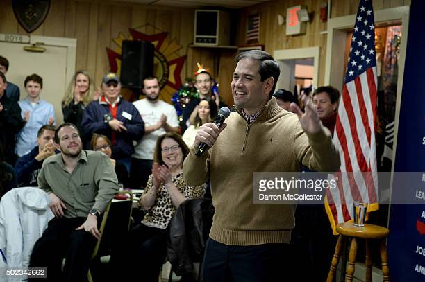 Republican Presidential candidate Marco Rubio speaks at a pancake breakfast at the Franklin VFW December 23 2015 in Franklin New Hampshire Rubio...