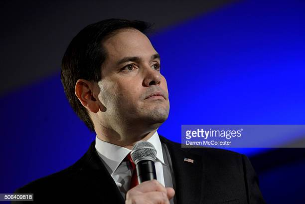 Republican presidential candidate Marco Rubio speaks at the NHGOP First In The Nation Town Hall January 23 2016 in Nashua New Hampshire The...