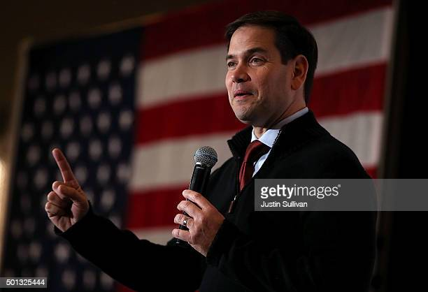 Republican presidential candidate Marco Rubio speaks during a campaign rally at the Renaissance Las Vegas on December 14 2015 in Las Vegas Nevada...