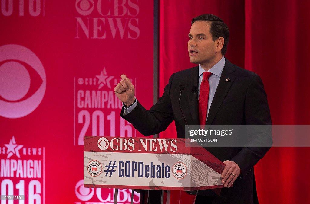 Republican presidential candidate Marco Rubio speaks during the CBS News Republican Presidential Debate in Greenville, South Carolina, February 13, 2016. / AFP / JIM WATSON