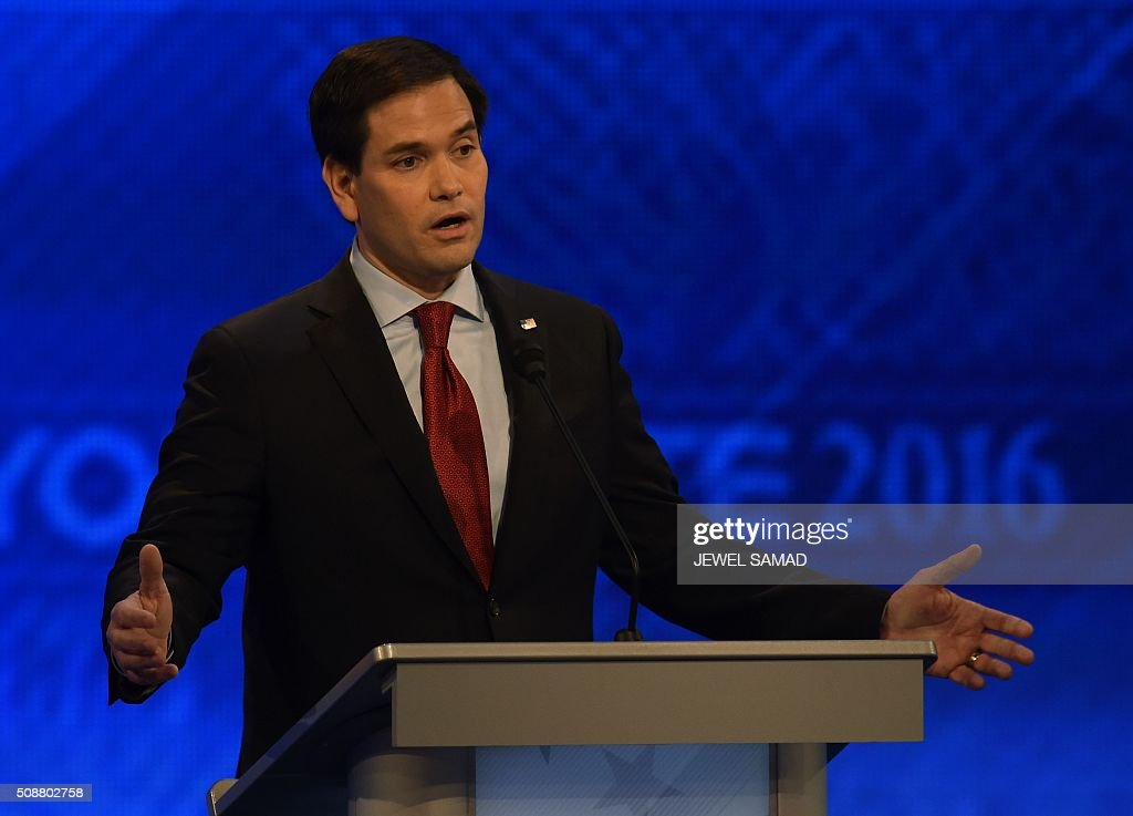 Republican presidential candidate Marco Rubio speaks during the Republican Presidential Candidates Debate February 6, 2016 at St. Anselm's College Institute of Politics in Manchester, New Hampshire. Seven Republicans campaigning to be US president are in a fight for survival in their last debate Saturday before the New Hampshire primary, battling to win over a significant number of undecided voters. / AFP / Jewel Samad