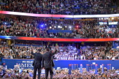 Republican presidential candidate Mitt Romney and running mate Paul Ryan wave following Romney's address at the Republican National Convention at the...