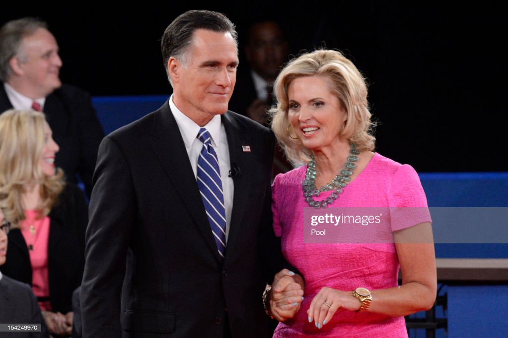 Republican presidential candidate <a gi-track='captionPersonalityLinkClicked' href=/galleries/search?phrase=Mitt+Romney&family=editorial&specificpeople=207106 ng-click='$event.stopPropagation()'>Mitt Romney</a> and wife <a gi-track='captionPersonalityLinkClicked' href=/galleries/search?phrase=Ann+Romney&family=editorial&specificpeople=868004 ng-click='$event.stopPropagation()'>Ann Romney</a> stand on stage after a town hall style debate at Hofstra University October 16, 2012 in Hempstead, New York. During the second of three presidential debates, the candidates fielded questions from audience members on a wide variety of issues.