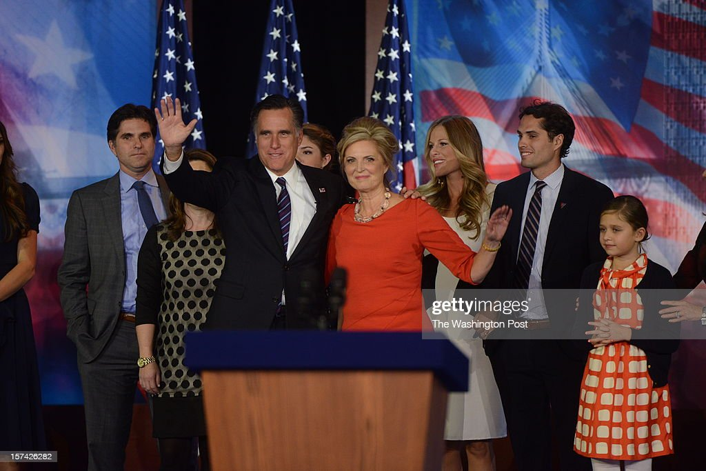 Republican presidential candidate Mitt Romney and wife Ann Romney leave the stage at his Election-Night Rally at the Boston Convention & Exhibition Center in Boston, Massachusetts on November 6, 2012.