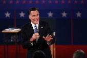 Republican presidential candidate Mitt Romney answers a question during a town hall style debate at Hofstra University October 16 2012 in Hempstead...