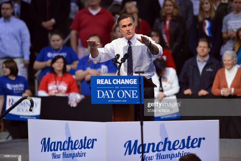 US Republican Presidential candidate Mitt Romney at a rally late November 5, 2012 at the Verizon Wireless Arena in Manchester, New Hampshire. AFP PHOTO/Stan HONDA