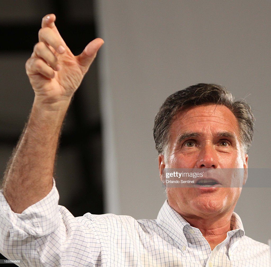 Republican presidential candidate Mitt Romney delivers remarks at a rally in Apopka, Florida, Saturday night, October 6, 2012. Romney is on a three-day tour of Florida.