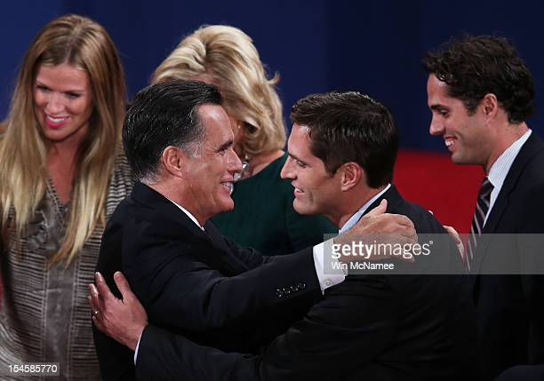 Republican presidential candidate Mitt Romney greets his son Matt Romney on stage after the debate at the Keith C and Elaine Johnson Wold Performing...