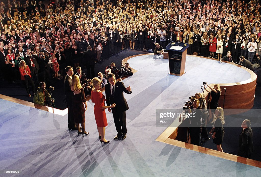 Republican presidential candidate, Mitt Romney (R), his wife Ann a (2nd R) and running mate U.S. Rep. Paul Ryan (R-WI) (L) and his wife Janna on (2nd L) stage after conceding the presidency during his campaign election night event at the Boston Convention & Exhibition Center on November 7, 2012 in Boston, Massachusetts. After voters went to the polls in the heavily contested presidential race, networks projected incumbent U.S. President Barack Obama has won re-election against Republican candidate, former Massachusetts Gov. Mitt Romney.