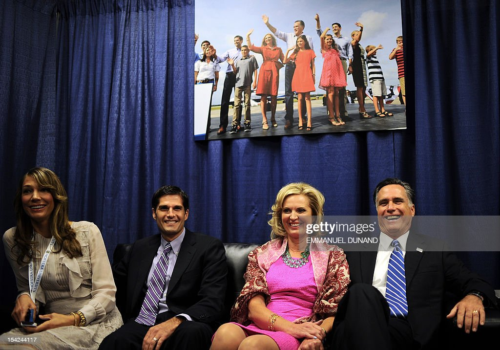 Republican Presidential candidate Mitt Romney, his wife Ann, his son Matt and Matt's wife Laurie await in a holding room, the start of the second presidential debate at Hofstra University in Hempstead, New York, on October 16, 2012. US President Barack Obama and Romney will face off in a town-hall style debate with undecided voters asking questions of the two candidates. AFP PHOTO/Emmanuel DUNAND