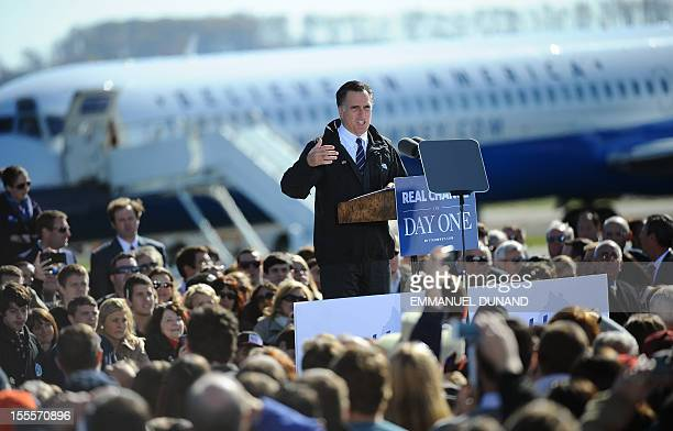 US Republican presidential candidate Mitt Romney holds a rally at Lynchburg regional airport in Lynchburg Virginia on November 5 2012 After a...