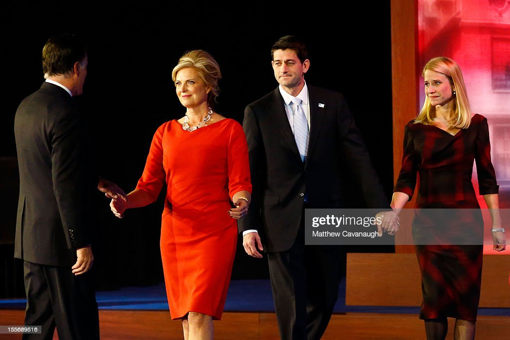 Republican presidential candidate, <a gi-track='captionPersonalityLinkClicked' href=/galleries/search?phrase=Mitt+Romney&family=editorial&specificpeople=207106 ng-click='$event.stopPropagation()'>Mitt Romney</a> is greeted by wife, <a gi-track='captionPersonalityLinkClicked' href=/galleries/search?phrase=Ann+Romney&family=editorial&specificpeople=868004 ng-click='$event.stopPropagation()'>Ann Romney</a>, Republican vice presidential candidate, U.S. Rep. Paul Ryan (R-WI), and wife, <a gi-track='captionPersonalityLinkClicked' href=/galleries/search?phrase=Janna+Ryan&family=editorial&specificpeople=9632767 ng-click='$event.stopPropagation()'>Janna Ryan</a> after conceding the presidency during <a gi-track='captionPersonalityLinkClicked' href=/galleries/search?phrase=Mitt+Romney&family=editorial&specificpeople=207106 ng-click='$event.stopPropagation()'>Mitt Romney</a>'s campaign election night event at the Boston Convention & Exhibition Center on November 7, 2012 in Boston, Massachusetts. After voters went to the polls in the heavily contested presidential race, networks projected incumbent U.S. President Barack Obama has won re-election against Republican candidate, former Massachusetts Gov. <a gi-track='captionPersonalityLinkClicked' href=/galleries/search?phrase=Mitt+Romney&family=editorial&specificpeople=207106 ng-click='$event.stopPropagation()'>Mitt Romney</a>.