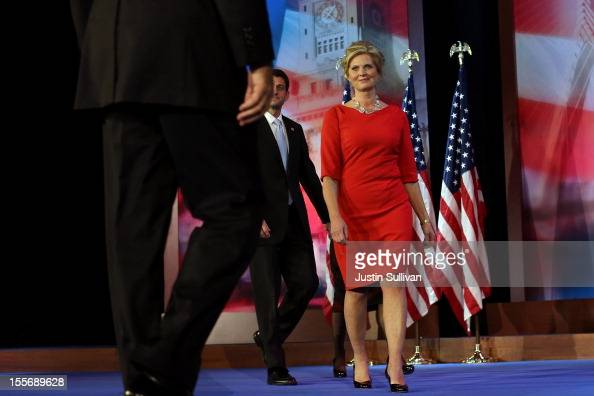 Republican presidential candidate Mitt Romney is greeted by wife Ann Romney Republican vice presidential candidate US Rep Paul Ryan and wife Janna...