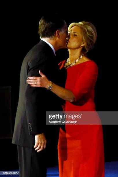 Republican presidential candidate Mitt Romney kisses his wife Ann Romney after conceding the presidency during Mitt Romney's campaign election night...