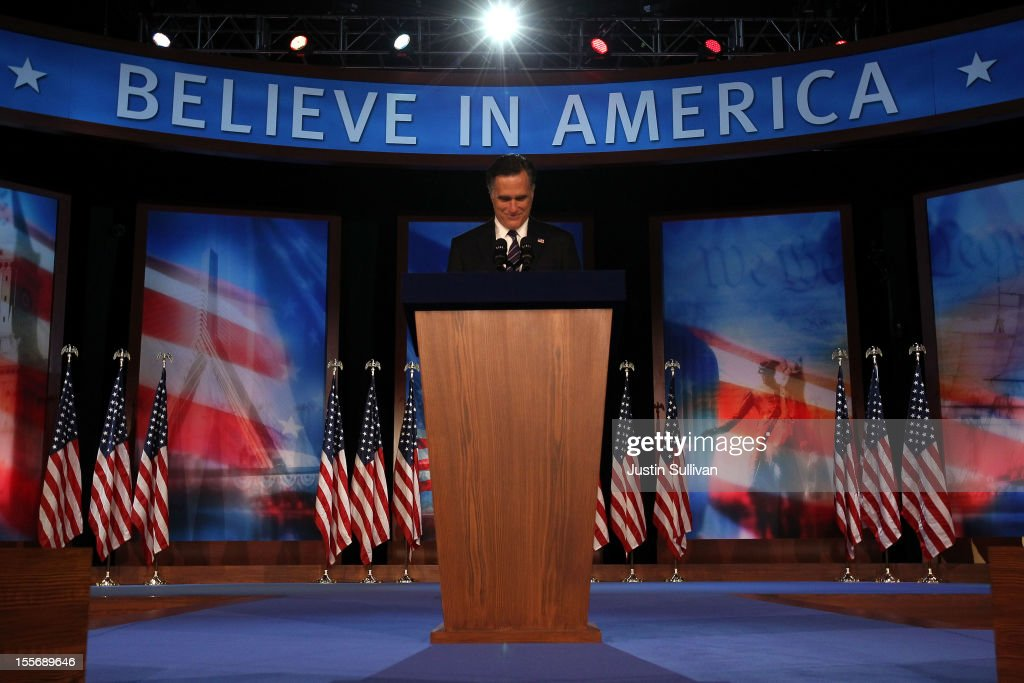 Republican presidential candidate, <a gi-track='captionPersonalityLinkClicked' href=/galleries/search?phrase=Mitt+Romney&family=editorial&specificpeople=207106 ng-click='$event.stopPropagation()'>Mitt Romney</a>, speaks at the podium as he concedes the presidency during <a gi-track='captionPersonalityLinkClicked' href=/galleries/search?phrase=Mitt+Romney&family=editorial&specificpeople=207106 ng-click='$event.stopPropagation()'>Mitt Romney</a>'s campaign election night event at the Boston Convention & Exhibition Center on November 7, 2012 in Boston, Massachusetts. After voters went to the polls in the heavily contested presidential race, networks projected incumbent U.S. President Barack Obama has won re-election against Republican candidate, former Massachusetts Gov. <a gi-track='captionPersonalityLinkClicked' href=/galleries/search?phrase=Mitt+Romney&family=editorial&specificpeople=207106 ng-click='$event.stopPropagation()'>Mitt Romney</a>.