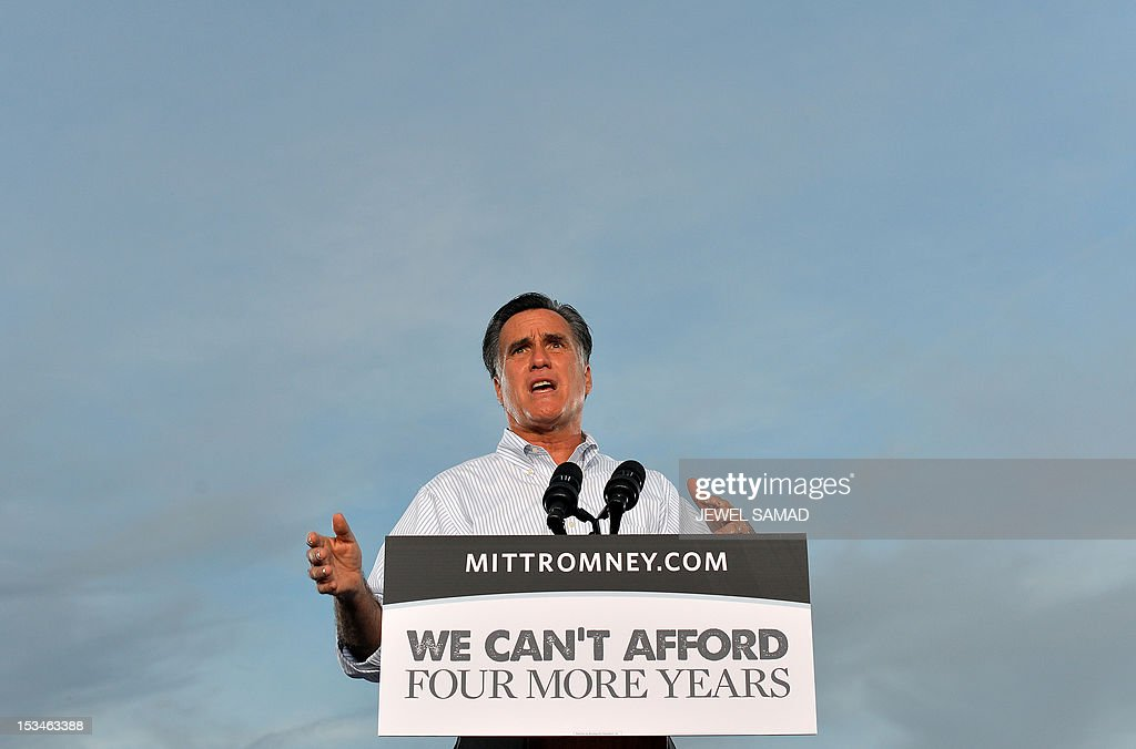 US Republican presidential candidate Mitt Romney speaks during a campaign event on October 5, 2012 in St. Petersburg, Florida. Fresh from a much-needed debate victory, Republican challenger Mitt Romney said his earlier remarks dismissing 47 percent of Americans as government dependents were 'completely wrong.' The admission came amid a campaign reset that shocked Democrat Barack Obama at Wednesday's debate, in which his invigorated rival for the White House vowed to fight for middle class families that Romney said were being 'crushed' by the president's policies. AFP PHOTO/Jewel Samad