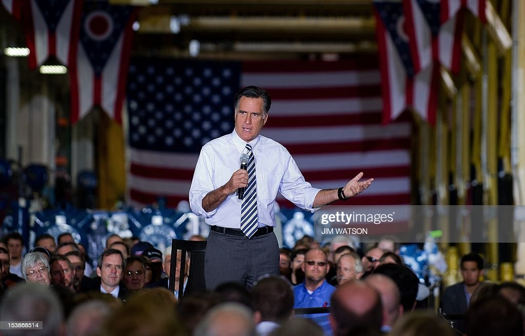 US Republican presidential candidate Mitt Romney speaks during a town hall meeting their assembly plant in Mount Vernon, Ohio, on October 10, 2012. AFP PHOTO/Jim WATSON