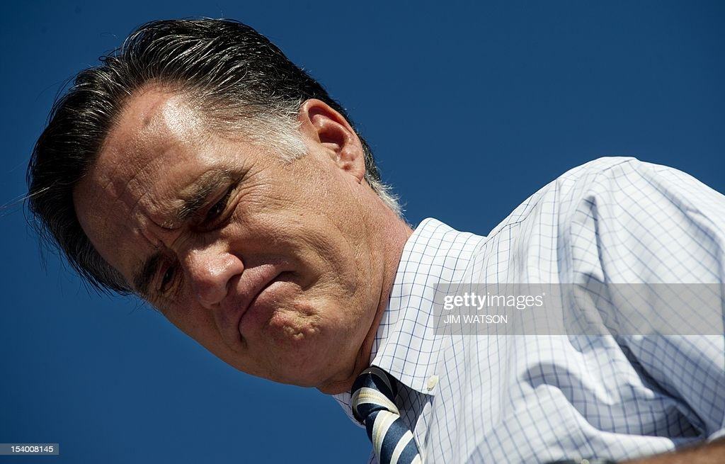 US Republican presidential candidate Mitt Romney speaks to supporters during a victory rally in Richmond, Virginia, October 12, 2012. AFP PHOTO/Jim WATSON