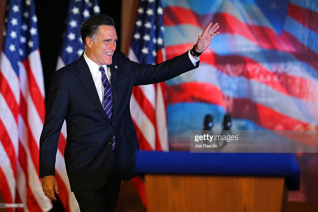Republican presidential candidate, <a gi-track='captionPersonalityLinkClicked' href=/galleries/search?phrase=Mitt+Romney&family=editorial&specificpeople=207106 ng-click='$event.stopPropagation()'>Mitt Romney</a>, waves to the crowd before conceding the presidency during <a gi-track='captionPersonalityLinkClicked' href=/galleries/search?phrase=Mitt+Romney&family=editorial&specificpeople=207106 ng-click='$event.stopPropagation()'>Mitt Romney</a>'s campaign election night event at the Boston Convention & Exhibition Center on November 7, 2012 in Boston, Massachusetts. After voters went to the polls in the heavily contested presidential race, networks projected incumbent U.S. President Barack Obama has won re-election against Republican candidate, former Massachusetts Gov. <a gi-track='captionPersonalityLinkClicked' href=/galleries/search?phrase=Mitt+Romney&family=editorial&specificpeople=207106 ng-click='$event.stopPropagation()'>Mitt Romney</a>.