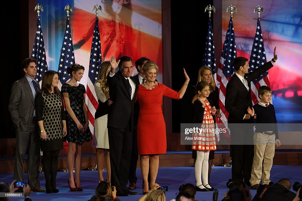 Republican presidential candidate, Mitt Romney, wife, Ann Romney, and family, wave to the crowd on stage after conceding the presidency during Mitt Romney's campaign election night event at the Boston Convention & Exhibition Center on November 7, 2012 in Boston, Massachusetts. After voters went to the polls in the heavily contested presidential race, networks projected incumbent U.S. President Barack Obama has won re-election against Republican candidate, former Massachusetts Gov. Mitt Romney.