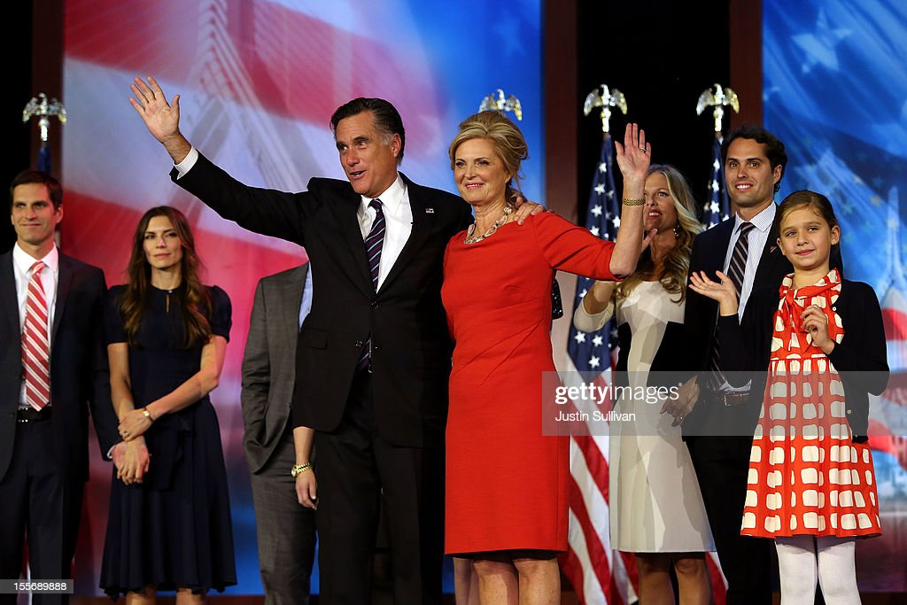 Republican presidential candidate, <a gi-track='captionPersonalityLinkClicked' href=/galleries/search?phrase=Mitt+Romney&family=editorial&specificpeople=207106 ng-click='$event.stopPropagation()'>Mitt Romney</a>, wife, <a gi-track='captionPersonalityLinkClicked' href=/galleries/search?phrase=Ann+Romney&family=editorial&specificpeople=868004 ng-click='$event.stopPropagation()'>Ann Romney</a>, and family, wave to the crowd on stage after conceding the presidency during <a gi-track='captionPersonalityLinkClicked' href=/galleries/search?phrase=Mitt+Romney&family=editorial&specificpeople=207106 ng-click='$event.stopPropagation()'>Mitt Romney</a>'s campaign election night event at the Boston Convention & Exhibition Center on November 7, 2012 in Boston, Massachusetts. After voters went to the polls in the heavily contested presidential race, networks projected incumbent U.S. President Barack Obama has won re-election against Republican candidate, former Massachusetts Gov. <a gi-track='captionPersonalityLinkClicked' href=/galleries/search?phrase=Mitt+Romney&family=editorial&specificpeople=207106 ng-click='$event.stopPropagation()'>Mitt Romney</a>.