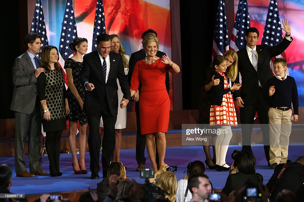 Republican presidential candidate, Mitt Romney, wife, Ann Romney, Republican vice presidential candidate, U.S. Rep. Paul Ryan (R-WI), wife, Janna Ryan, and family wave to the crowd while walking off of the stage after conceding the presidency during Mitt Romney's campaign election night event at the Boston Convention & Exhibition Center on November 7, 2012 in Boston, Massachusetts. After voters went to the polls in the heavily contested presidential race, networks projected incumbent U.S. President Barack Obama has won re-election against Republican candidate, former Massachusetts Gov. Mitt Romney.
