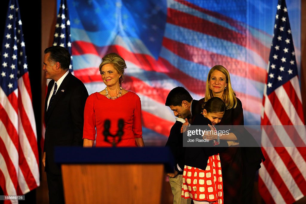 Republican presidential candidate, Mitt Romney, wife, Ann Romney, Republican vice presidential candidate, U.S. Rep. Paul Ryan (R-WI), wife, Janna Ryan, and family walk off of the stage after conceding the presidency during Mitt Romney's campaign election night event at the Boston Convention & Exhibition Center on November 7, 2012 in Boston, Massachusetts. After voters went to the polls in the heavily contested presidential race, networks projected incumbent U.S. President Barack Obama has won re-election against Republican candidate, former Massachusetts Gov. Mitt Romney.