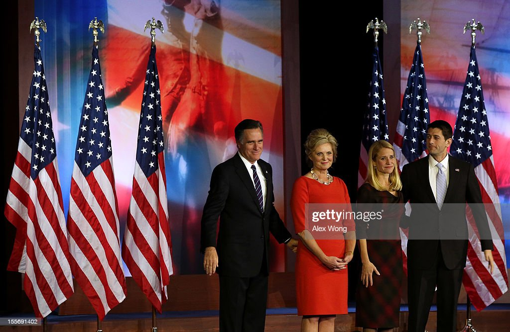 Republican presidential candidate, Mitt Romney, wife, Ann Romney, Republican vice presidential candidate, U.S. Rep. Paul Ryan (R-WI), and wife, Janna Ryan, stand on stage together after conceding the presidency during Mitt Romney's campaign election night event at the Boston Convention & Exhibition Center on November 7, 2012 in Boston, Massachusetts. After voters went to the polls in the heavily contested presidential race, networks projected incumbent U.S. President Barack Obama has won re-election against Republican candidate, former Massachusetts Gov. Mitt Romney.