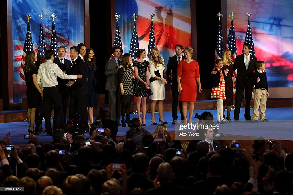 Republican presidential candidate, Mitt Romney, wife, Ann Romney, Republican vice presidential candidate, U.S. Rep. Paul Ryan (R-WI), wife, Janna Ryan, and their families greet each other on stage after conceding the presidency during Mitt Romney's campaign election night event at the Boston Convention & Exhibition Center on November 7, 2012 in Boston, Massachusetts. After voters went to the polls in the heavily contested presidential race, networks projected incumbent U.S. President Barack Obama has won re-election against Republican candidate, former Massachusetts Gov. Mitt Romney.