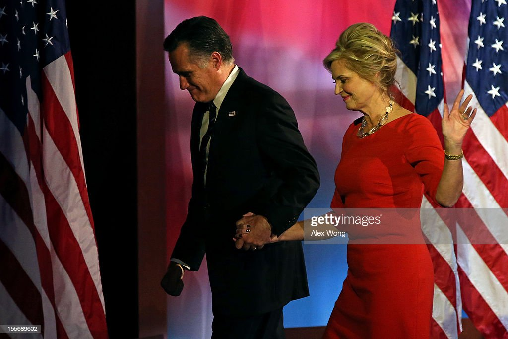 Republican presidential candidate, Mitt Romney, wife, Ann Romney, walk off of the stage after conceding the presidency during Mitt Romney's campaign election night event at the Boston Convention & Exhibition Center on November 7, 2012 in Boston, Massachusetts. After voters went to the polls in the heavily contested presidential race, networks projected incumbent U.S. President Barack Obama has won re-election against Republican candidate, former Massachusetts Gov. Mitt Romney.