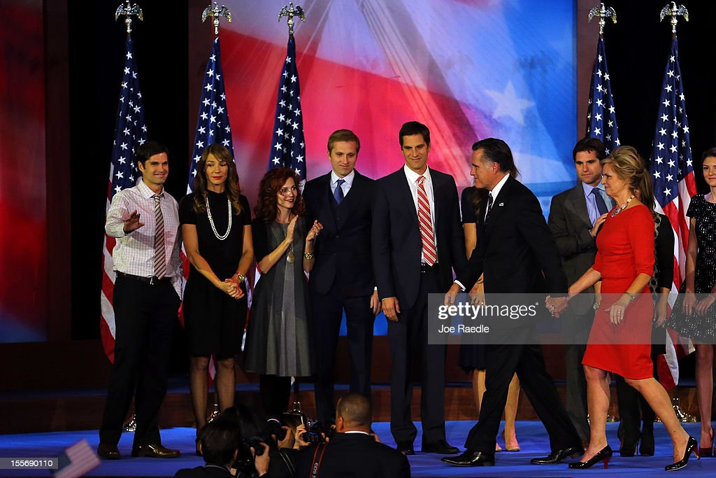 Republican presidential candidate, Mitt Romney, wife, Ann Romney, walk off of the stage in front of family members after conceding the presidency during Mitt Romney's campaign election night event at the Boston Convention & Exhibition Center on November 7, 2012 in Boston, Massachusetts. After voters went to the polls in the heavily contested presidential race, networks projected incumbent U.S. President Barack Obama has won re-election against Republican candidate, former Massachusetts Gov. Mitt Romney.