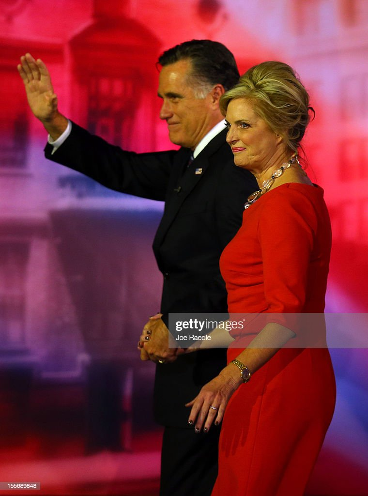 Republican presidential candidate, Mitt Romney, wife, Ann Romney, wave to the crowd while walking off of the stage after conceding the presidency during Mitt Romney's campaign election night event at the Boston Convention & Exhibition Center on November 7, 2012 in Boston, Massachusetts. After voters went to the polls in the heavily contested presidential race, networks projected incumbent U.S. President Barack Obama has won re-election against Republican candidate, former Massachusetts Gov. Mitt Romney.